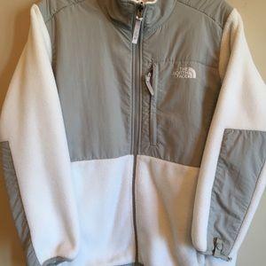 North Face Denali White and Grey Fleece Jacket